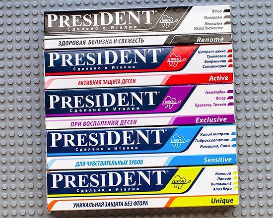 Зубні пасти президент, особливості їх складу і відгуки про застосування